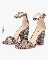 Animal Print Chunky Heels With Ankle Strap