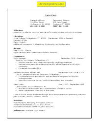 Resume Chronological Order Musiccityspiritsandcocktail Com