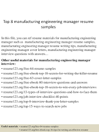 Manufacturing Engineer Resume Examples Top 8 Manufacturing Engineering Manager Resume Samples