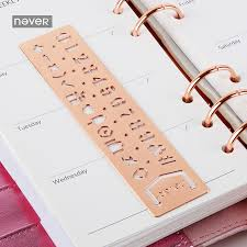 <b>NEVER</b> Planner Accessories <b>Rose</b> Gold Stainless steel Stencils ...