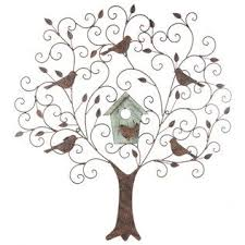 this pretty piece features antique rust colored metal swirls leaves and birds along with a distressed green bird house this piece is a must have for your angled metal legs 4quotw