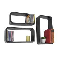 3 black white wall hanging storage shelving shelf