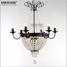 french empire crystal chandelier light fixture vintage crystal lighting wrought iron white chrome black color md8908 l9
