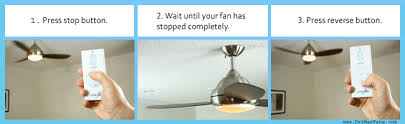 how to correctly reverse a ceiling fan from a remote control