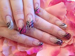 Eye Candy Nails & Training - Black, pink and silver freehand nail ...