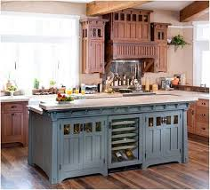 blue painted kitchen cabinets. Country Kitchen:Rustic Blue Kitchen Cabinet And Beige Paint Color For French Painted Cabinets Z