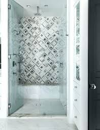 showers seamless glass shower gray pattern tile chic walk in boasts doors opening to marble