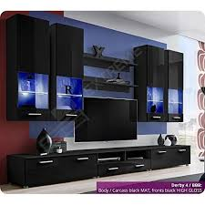 Attractive Brilliant Living Room Furniture Set   High Gloss Fronts   Display Hung On Wall  Unit