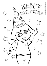 Dora Happy Birthday Coloring Pages For