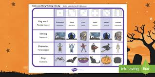 halloween story writing ideas activity english italian