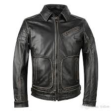 new list genunie leather men vintage motorcycle leather jacket slim fit doubled lead layer old retro leather jacket mens jacket brands cool mens jacket from