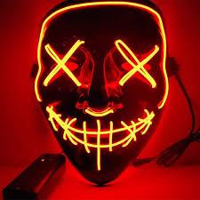 Balai Frightening <b>Halloween</b> Cosplay LED Light up <b>Mask</b> Glowing ...