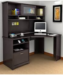 Furniture:Dark Brown Corner Computer Desk Idea Complete With Shelves Simple  yet Modern Corner Desk