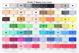 Blick Studio Markers Color Chart Studio 71 Markers Color Swatch Chart Brush Tip Markers For