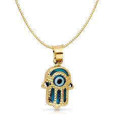 ioka 14k yellow solid gold evil eye hamsa charm pendant with 1mm box chain necklace 20 com