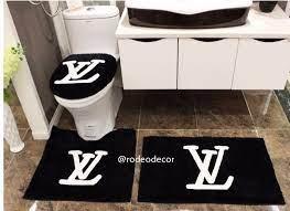Designer Shower Room Toilet 3 In 1 Mat Louis Vuitton Non Slip Carpet Black Shamra Home Decor