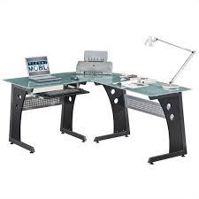 techni mobili l shaped frosted glass computer desk in graphite