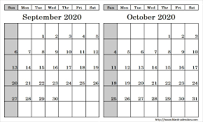 Blank Two Month September October 2020 Calendar Printable