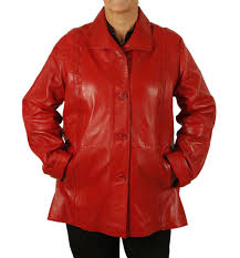 sl1341122 plus size 22 las 3 4 red leather jacket with inlaid detail