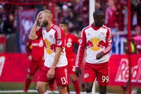 photo essay red bulls opening day ny sports day mike grella and bradley wright phillips of the new york red bulls express disappointment in