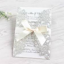 Glittery Wedding Invitations For Wedding Elegant Laser Cut Silver Gold Ribbon Decoration Customized Printing Free Ship