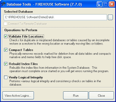 database tools run firehouse database tools