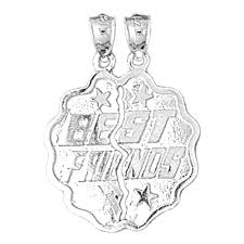sterling silver best friends pendant rhodium yellow or rose gold plated