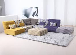 Modern Living Room Rug Furniture Fancy Living Room With Colorful L Shaped Sofa And Fur