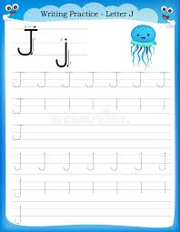 Writing practice letter J stock vector. Illustration of colorful ...