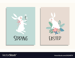 Set Of Easter Greeting Cards Invitations With