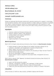 Resume Analysis Best Professional Bioinformatics Analyst Templates To Showcase Your