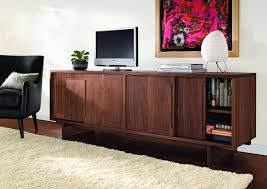 modern media console furniture solid hardwood construction walnut finish 4 sliding doors cabinet storage magnificent credenza tv cabinet