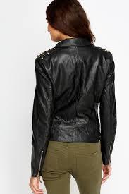 studded shoulder faux leather jacket 1