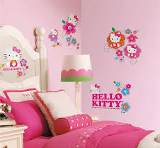 kids bedroom for girls hello kitty. Pink Wood Girls Kids Bed Bedroom Painting Ideas Wall Bookshelf Design Fabric Vertical Curtain For Hello Kitty I