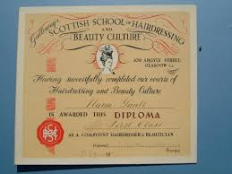 galloway s scottish school of hairdressing and beauty culture  1948 galloway s scottish school of hairdressing and beauty culture diploma to nana gault