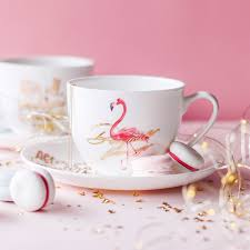 ins china ins popular flamingo bone china coffee cup dish afternoon tea cup