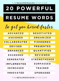 Powerful Verbs For Resumes Resume Thekindlecrew Com