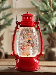 Holiday Living Lighted Lantern Red Hurricane With Snowman Lighted Water Lantern With