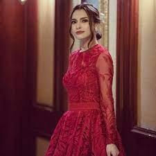 "Carmen Soliman on Instagram: ""Dubai's wedding look ❤️ Styling  @youmnamoustafa Dress @basilsodaworld"" | Evening dresses, Dresses, Red  formal dress"