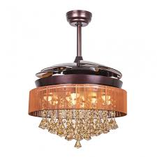 retractable led ceiling fan with light and remote bronze
