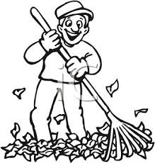 rake clipart black and white. Wonderful Black Picture In Black And White Of A Happy Man Raking Up Leaves  Royalty Free  Clipart Rake And E