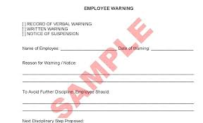 Warning Forms For Employees Employee Verbal Form Template Example