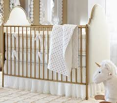 gold and linen crib by pottery barn kids