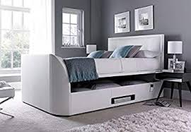 tv bed with storage. Perfect Bed King Size White Leather Ottoman Storage TV Bed Frame Only Inside Tv Bed With P