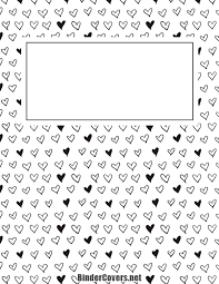 Printable Black And White Heart Binder Cover