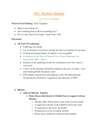 How To Write Meeting Minutes Nec Meeting Minutes