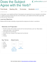 Does The Subject Agree With The Verb Lesson Plan Education Com