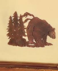 image is loading die cut metal rustic wall art sculpture bear  on die cut metal wall art with die cut metal rustic wall art sculpture bear northwood cabin lodge
