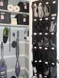 ... organizer behind storage room door? -Super-organized utility closet  (love the shoe organizer for cords/batteries/flashlights) Home Improvement  Ideas