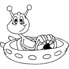 Small Picture Space Alien Transport Coloring Page